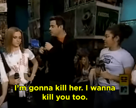 When a Backstreet Boys fan threatened Carson Daly and an NYSYNC fan on TRL after losing a trivia battle: