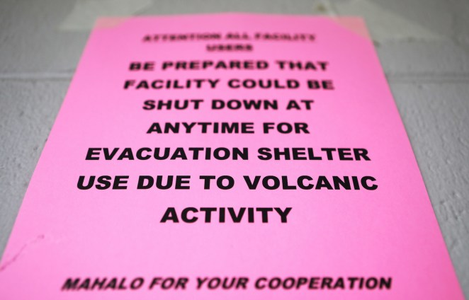 A sign in an emergency shelter at the Pahoa Community Center on May 5.