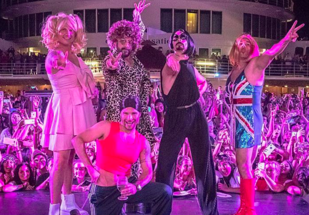 Seriously, this is not a drill. Here is a photo of the Backstreet Boys dressed as the Spice Girls on their cruise ship. Nothing more, nothing less.