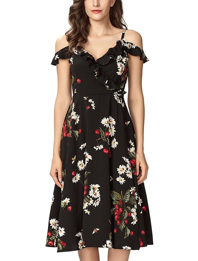 "Promising review: ""This dress is gorgeous! It's very appropriate to wear to a summer evening wedding. It's well-made and fits true to size. It fits me like a dream. Mine is the black one, and I'm debating on getting the white one, as well. That's how much I like it."" —Cool nerdGet it from Amazon for $34.95 (available in sizes XS-XXL and in three colors)."