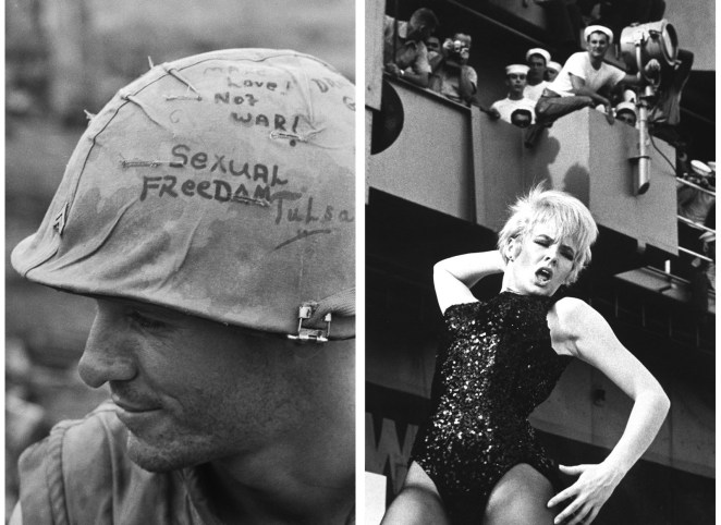 Left: Marine Cpl. Billy Winn's helmet scrawled with political slogans in 1968. Right: Off the coast of Vietnam, actor Joey Heatherton entertains the troops on the aircraft carrier USS Ticonderoga in 1965.