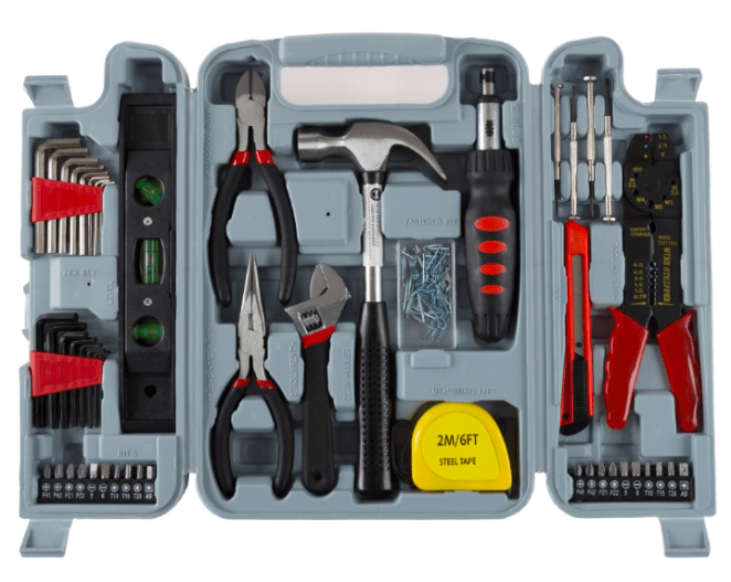 This hand-tool set comes with two 8-piece Allen wrench sets, two10-piece driver sets with PH1, PH2, PZ1, 5, 6, T10, T15, T20 and ADP drivers, a ratcheting screwdriver, side cutters, needle nose pliers, adjustable wrench, claw hammer, steel tape measure, snap blade razor, a miniature screwdriver set with two slotted and two Philips, a wire stripper, and assorted small hardware. So, yeah, it's got what you need. Did we ~build~ it up enough for you?? Price: $19.95