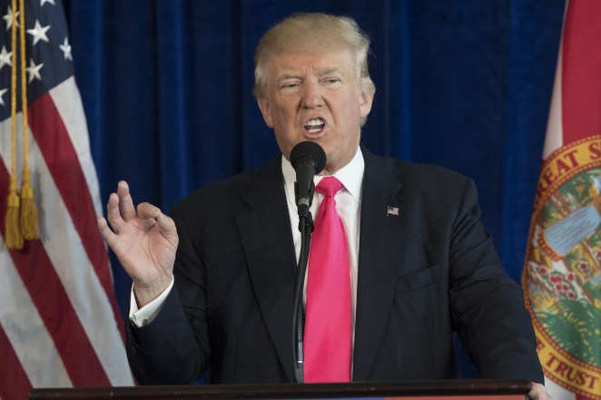 Then-candidate Donald Trump speaking at Trump National Doral on July 27, 2016.