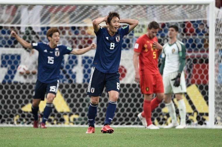 O atacante Haraguchi reage após o segundo gol do Japão contra a Bélgica. Naquele momento, os japoneses venciam por 2 x 0.