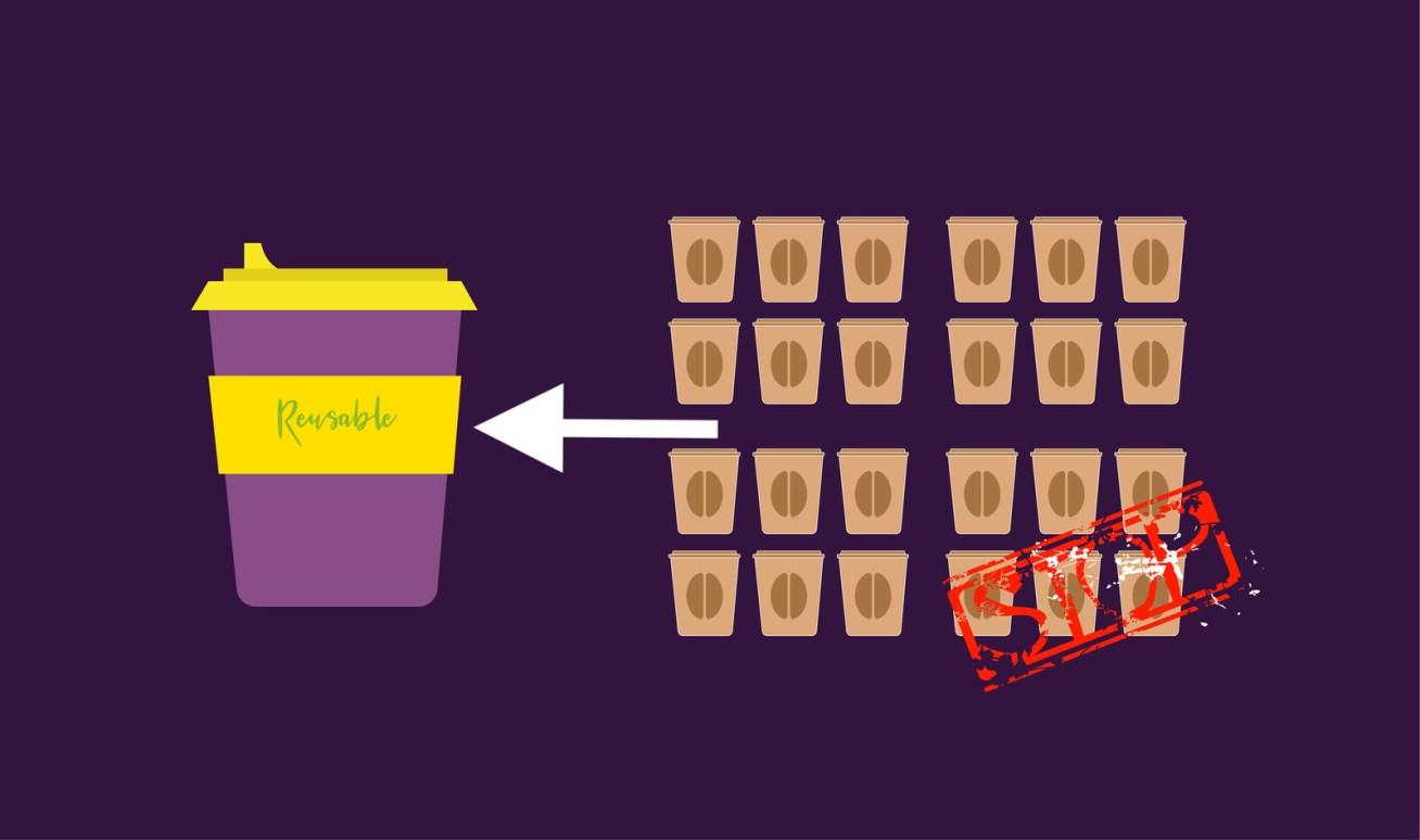 Solo debes pedir que, en lugar de que te sirvan el café en una taza desechable, lo hagan en la taza que les llevas. También deberías hacerlo en tu oficina, donde lo ideal es que tengas tu propia taza en el escritorio, y evitar usar las de cartón.