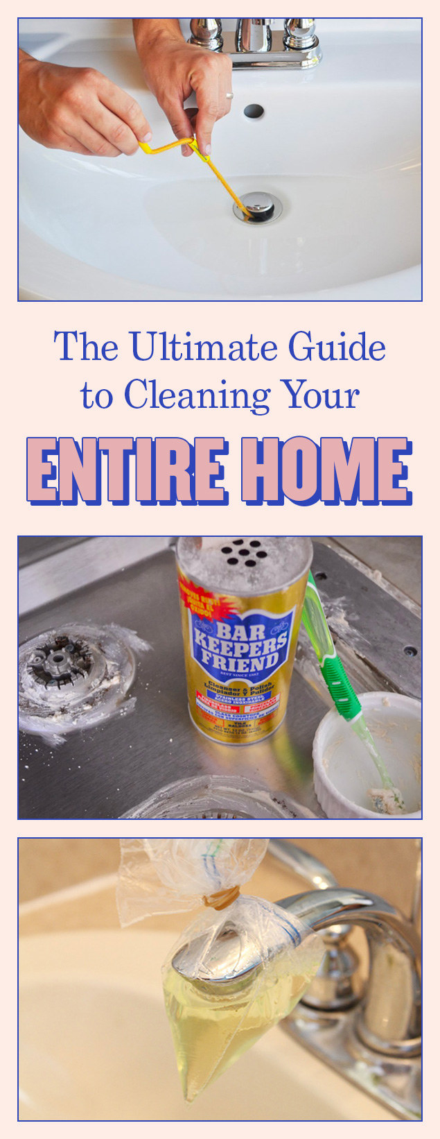 This cleaning guide covers the kitchen, bathrooms, and bedrooms.