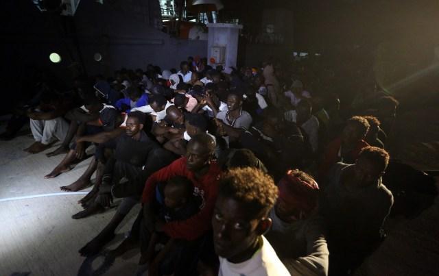 People at a naval base in Tripoli, after being rescued off the coast of Libya, on July 30, 2018.