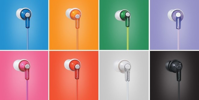 Panasonic ear buds in a variety of colors