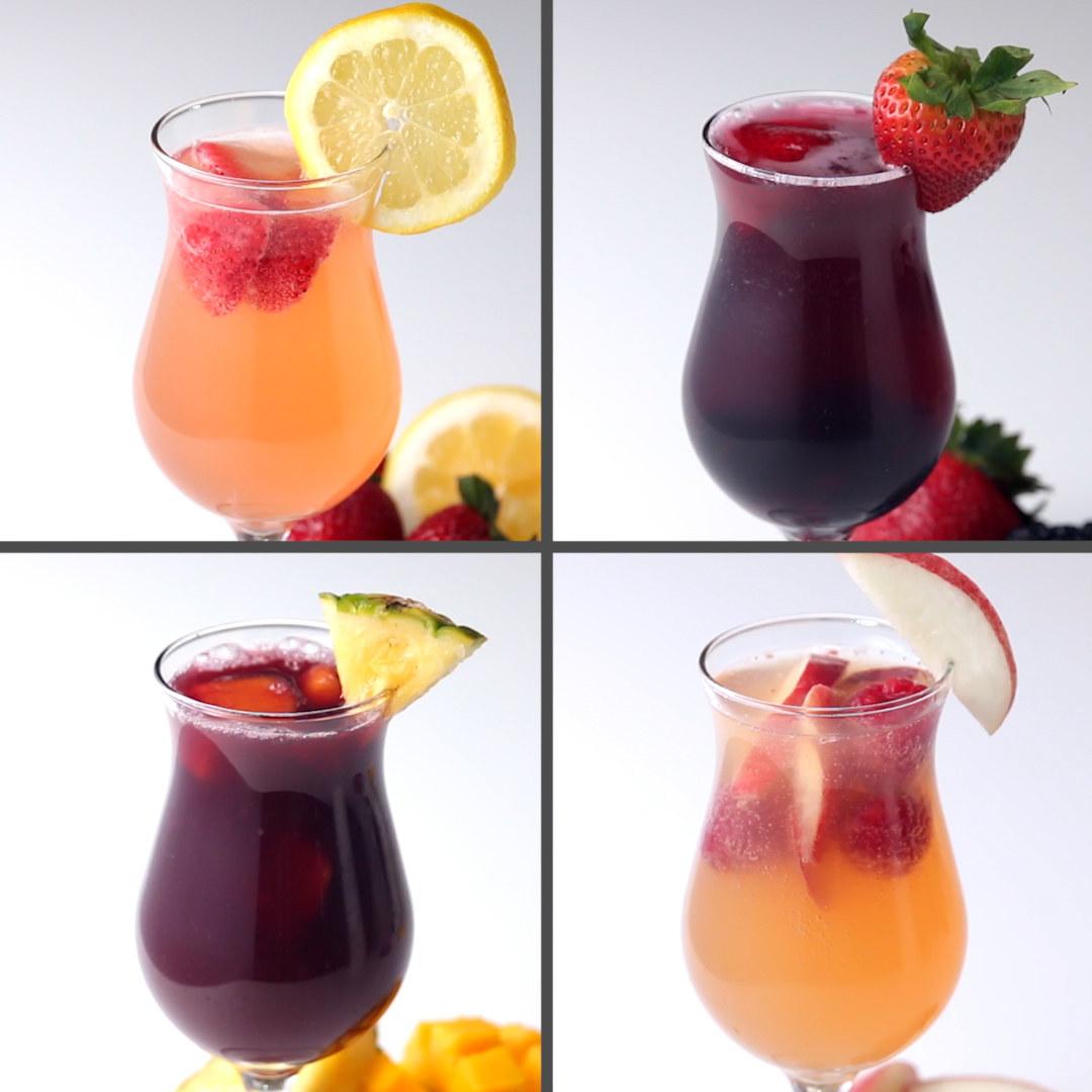 Sangria de Limonada com Morango:Você vai precisar de:900g de morangos1 limão em rodelas1 garrafa de vinho branco1 xícara de rum4 xícaras de limonada2 xícaras de espumanteModo de preparo:1. Em uma jarra, misture todos os ingredientes exceto o espumante.2. Leve a geladeira por pelo menos 4 horas.3. Adicione o espumante e sirva!Sangria de Frutas Vermelhas:Você vai precisar de:1 xícara de amoras1 xícara de morangos1 xícara de mirtilos1 garrafa de vinho tinto1 xícara de conhaque3 xícaras de suco de maçã2 xícaras de refrigerante de limãoModo de preparo:1. Em uma jarra, misture todos os ingredientes exceto o refrigerante de limão.2. Leve a geladeira por pelo menos 4 horas.3. Adicione o refrigerante de limão e sirva!Sangria de Abacaxi e Manga:Você vai precisar de:2 xícaras de abacaxi3 de mangas1 garrafa de vinho tinto1 xícara de conhaque3 xícaras de suco de abacaxi2 xícaras de refrigerante de laranjaModo de preparo:1. Em uma jarra, misture todos os ingredientes exceto o refrigerante de laranja.2. Leve a geladeira por pelo menos 4 horas.3. Adicione o refrigerante de laranja e sirva!Sangria de Framboesa e Pêssego:Você vai precisar de:3 pêssegos2 xícaras de framboesas1 garrafa de espumante rosé1 xícara de rum4 xícaras de suco de pêssego1 xícara de espumanteModo de preparo:1. Em uma jarra, misture todos os ingredientes exceto o espumante rosé.2. Leve a geladeira por pelo menos 4 horas.3. Adicione o espumante rosé e sirva!