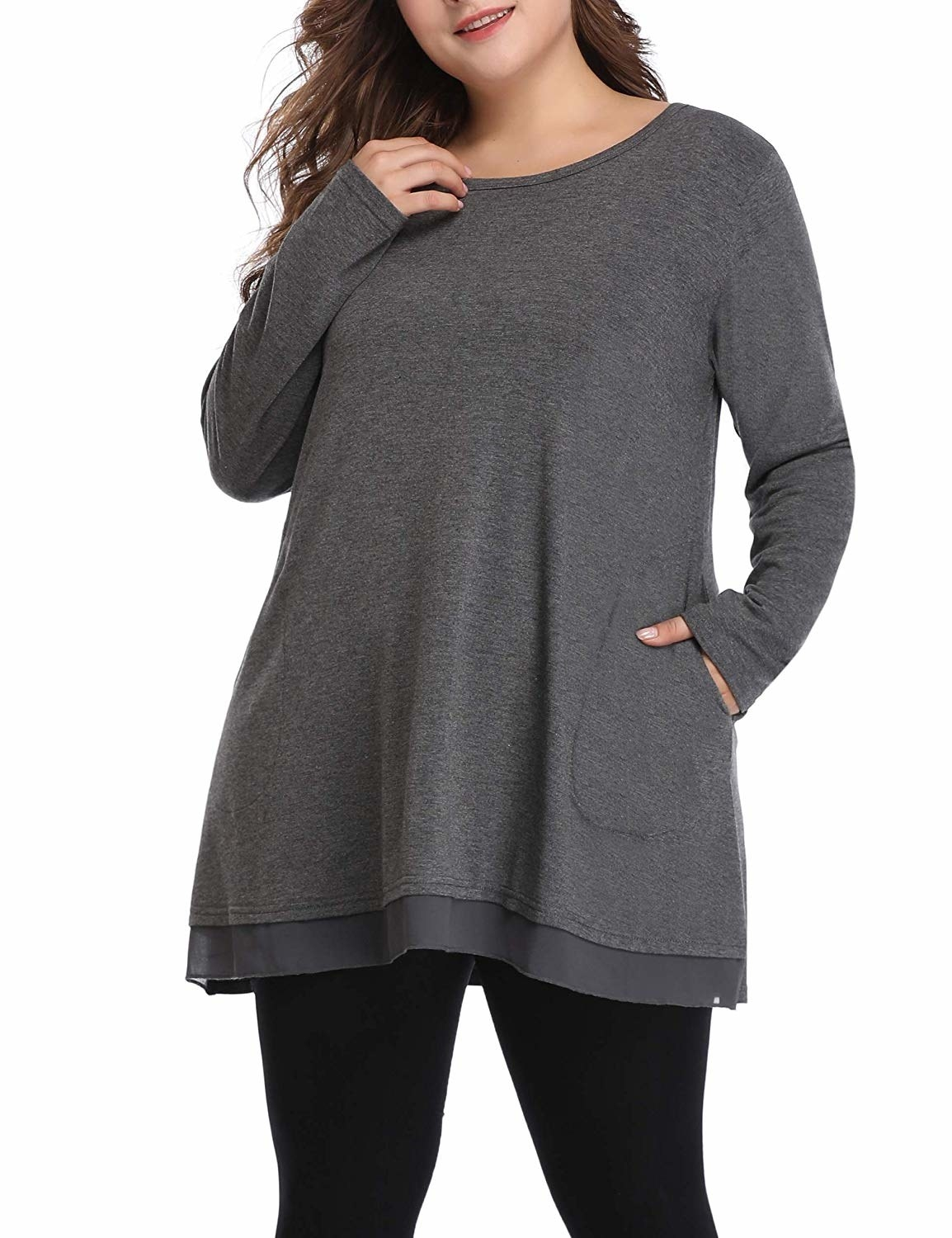 "Promising review: ""The fit was perfect: it's light, comfortable, and best of all, has pockets!! I love this and will order it in all of the colors."" —Karen NewlandGet it from Amazon for .99+ (available in sizes 1X-5X and two colors)."