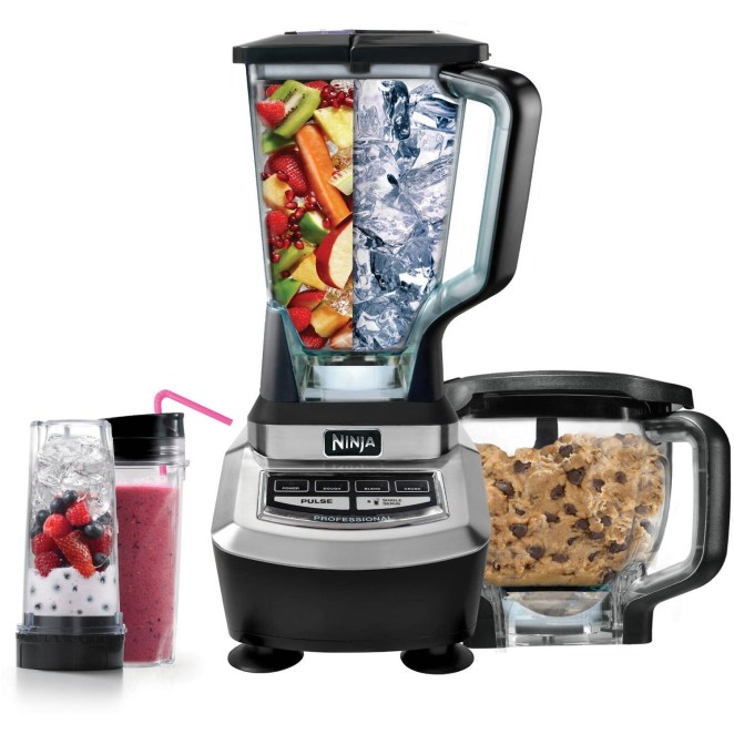 This system comes with a blender base, a 72-oz blending jar, an 8-cup food processor bowl, and two Nutri Ninja cups with to-go lids.Price: $149 (originally $169.99)