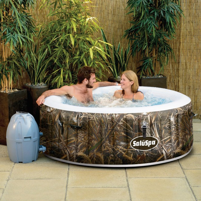 This hot tub heats water up to 104 degrees and has an AirJet system. It conveniently inflates using the spa's pump and can fit up to four people.Price: $289 (originally $430.80)