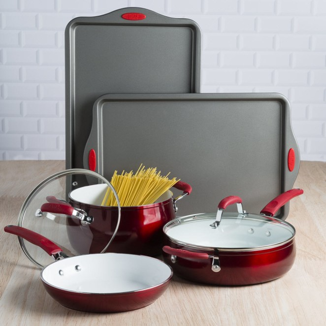 """This set comes with a 9.5"""" fry pan, a 4-quart deep cooker with glass lid, a 5-quart Dutch oven with glass lid, and two non-stick cookie sheets. The non-stick ceramic coating is PFOA-free and PTFE-free.Price: $68.62 (originally $91.50)"""