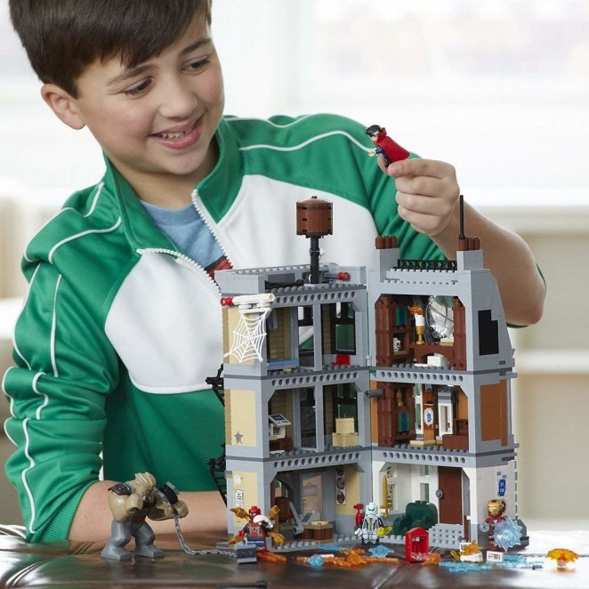 """This set includes four figurines (Spider-Man, Iron-Man, Doctor Strange, Ebony Maw, and Cull Obsidian) and a three-level New York City building including the Sanctum Sanctorum, pizzeria, Peter Parker's apartment, two fire escapes, rooftop water tower, plus a detachable street corner scene. Promising review: """"It is one of the most detailed Lego Marvel superhero sets I have ever seen, only comparing to the 76057 Spider-Man bridge battle in the sheer amount of detail in the bricks and the Sanctum. It's a creative idea to make it fold up for easy storage and mobility; kids can take it from house to house easily and all the figures can be stored inside. You can always build a handle so you can carry it like a suitcase. So yeah, definitely one of the best."""" —AwesomeGuy9011Get it from Amazon for $99.95."""