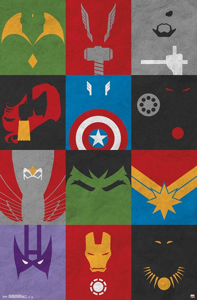 """Superheroes featured (from top to bottom) are Vision, Thor, Nick Fury, Black Widow, Captain America, War Machine, Falcon, Hulk, Captain Marvel, Hawkeye, Iron Man, and Black Panther. The poster measures 22.375"""" x 34"""".Promising review: """"This is a super funky, cool take on Marvel classics. It is a nice size and spruces up my son's room."""" —M&MGet it from Amazon for $8.99."""