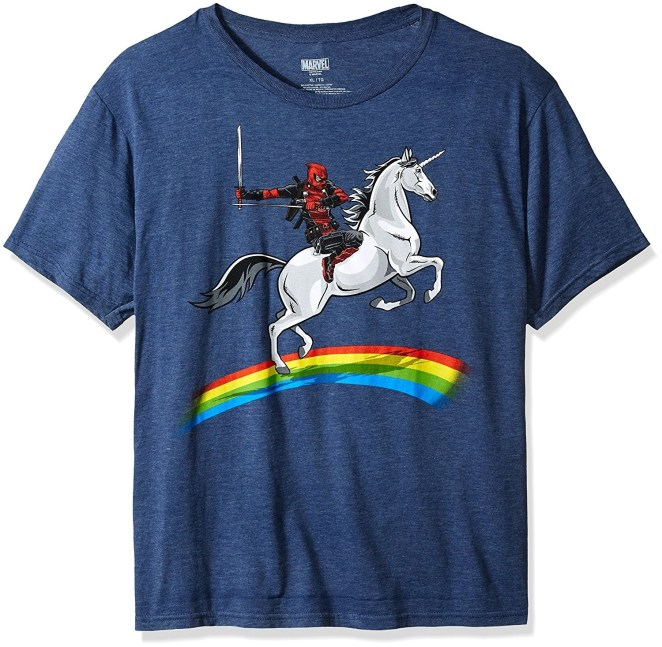 """Promising review: """"What else can be added other than stating the fact it's Deadpool riding a unicorn. Winner winner chicken dinner."""" —KhodgGet it from Amazon for $11.99+ (available in sizes S–XXL and two colors)."""