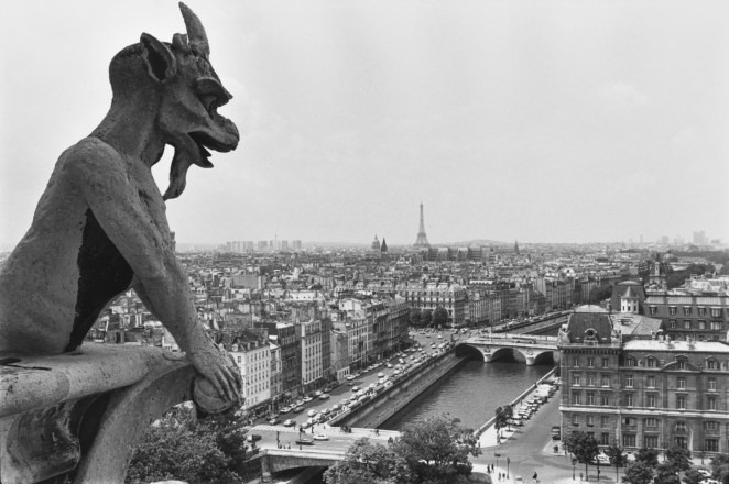 A gargoyle on top of the Notre Dame Cathedral in July 1980.