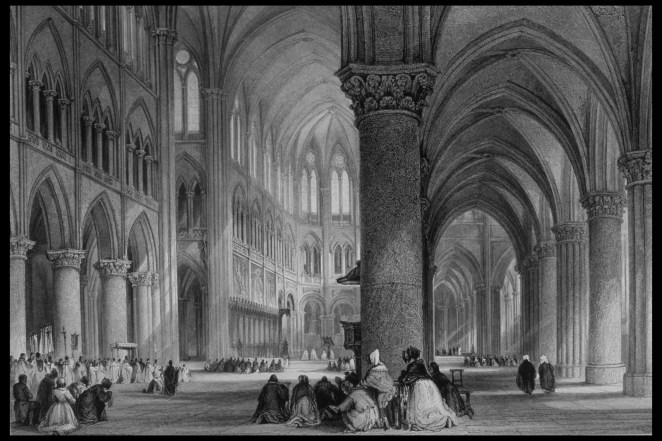 Interior of the Cathedral of Notre-Dame as drawn by Thomas Allom from France Illustrated, 1845.