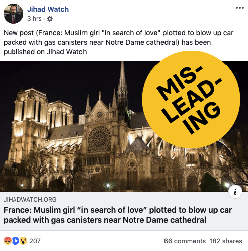 """The website posted a news story with a headline that makes it seem like the content is directly connected to the fire. It's not. An update on the post says, """"This is not a post about the fire at Notre Dame,"""" but readers can only see that when they click on the story. The incident in question is the same one from 2016 that accounts on Twitter are trying to spread."""