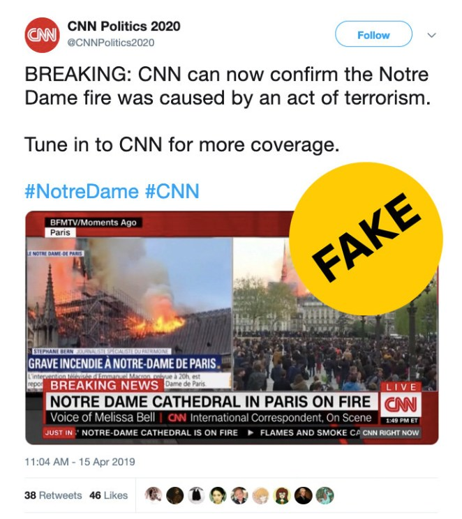 The account was created this month and only has seven followers, but the false tweet gained traction. The account was finally removed by Twitter — more than two hours after it began tweeting disinformation.