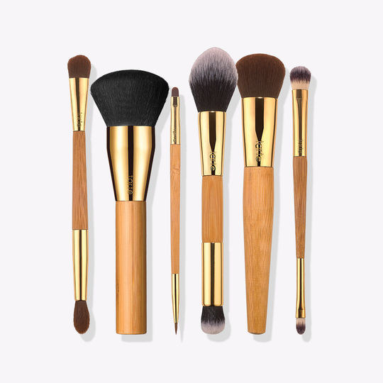 """They're all cruelty-free and vegan! The set comes with (pictured left to right!) a double-ended eyeshadow brush, a powder brush, a double-ended eyeliner brush, a double-ended contour and highlight brush, a foundation brush, and a double-ended concealer brush.Promising review: """"The perfect set! These bushes are so soft and beautiful! Between all the different brush heads you can use it for pretty much any product and style you were hoping for. Definitely would recommend them!"""" —Bridgette RGet them from Tarte for $39."""