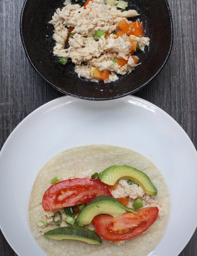 1. In a small bowl, mix the tuna with the Greek yogurt and season with salt and pepper. Add the bell pepper and scallions. 2. Spoon the tuna salad onto the tortilla(s) and top with the sliced avocado and tomato.3. Enjoy!