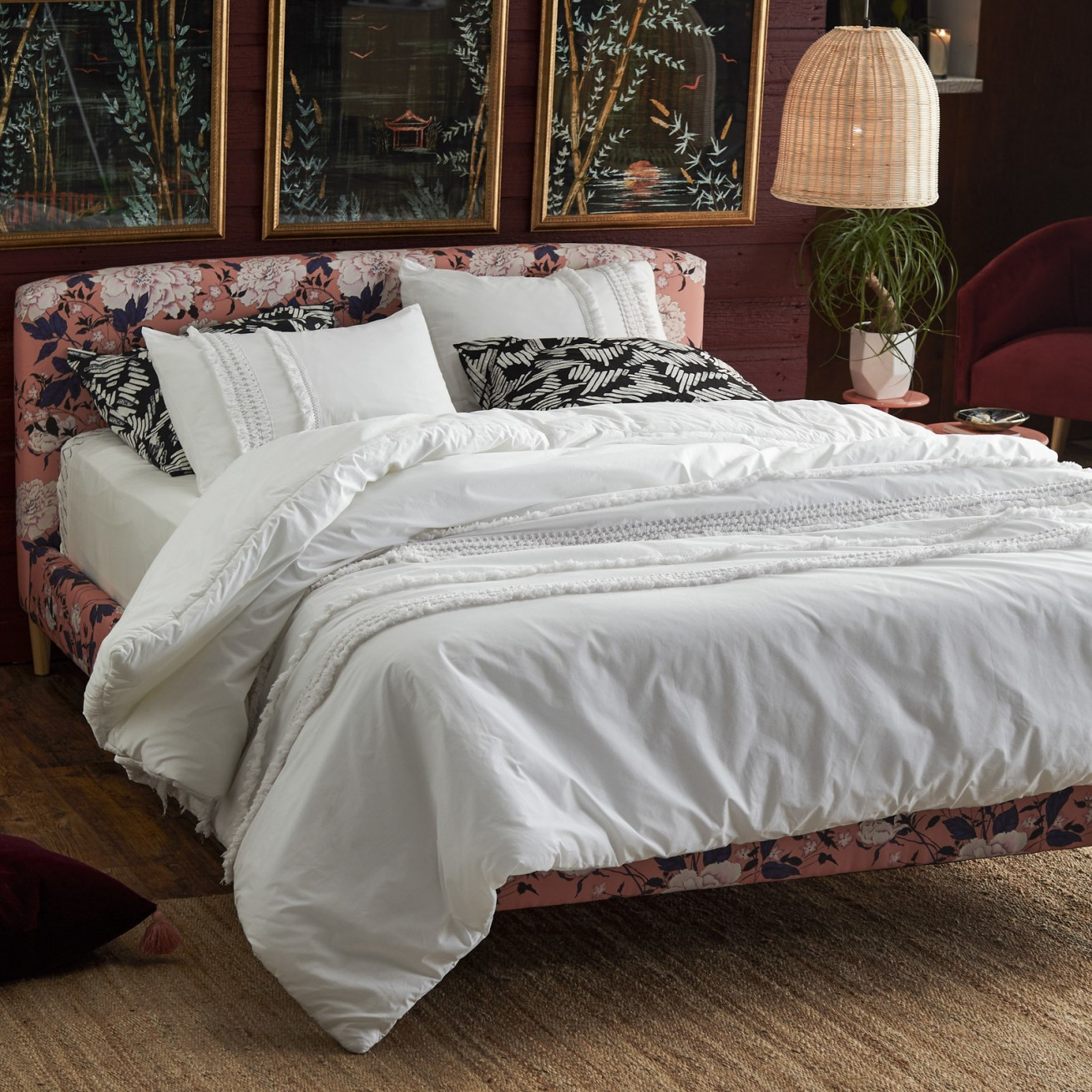 Includes a comforter and two matching shams. Price: + (available in two colors and two sizes)