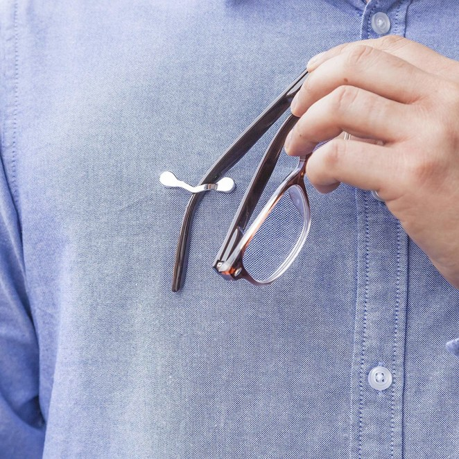 "Promising review: ""I can't tell you how many reading glasses I've killed in the past few years, largely from jettisoning them from my breast pocket or hooking them awkwardly in my shirt collar. These clips are amazing. They're discreet enough that I don't look like a goon wearing one on my shirt all day, and when I hang my glasses from them I can tie my shoes without spilling them lens-first on the ground. What else can a fellow ask for?"" —Phil SelmanGet two sets from Amazon for $20."