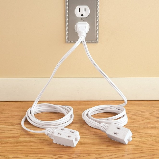 """Cords are six feet long and have three plugs each.Promising review: """"I have no idea why these are not sold everywhere. PERFECT for my room! I ended up getting this due to my king size bed being against a wall with only one outlet. I needed a way to connect my two lamps on my nightstand and this is absolutely, without a doubt, the very best solution to connecting my lamps and also not having all my outlets taken up. I recommend this to everyone! Also perfect for outlets connected to a switch to turn on and off both lights at the same time."""" —RyanGet it from Amazon for $12.99."""