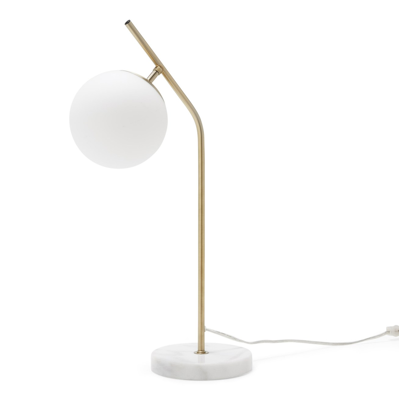 "Promising review: ""Beautiful marble, perfect shade of brass, and the globe is glass unlike the plastic I've seen on similar lamps. The lamp has weight and is not cheaply put together."" —Emily0630Price:"