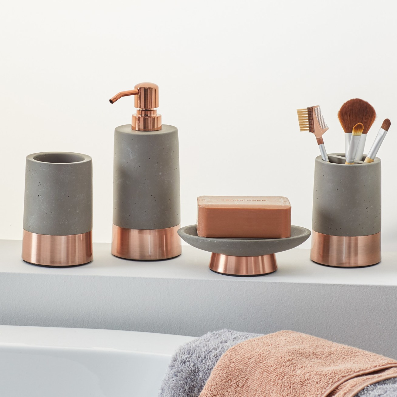 "Promising review: ""Each piece has good weight and is well-made. The concrete is super smooth. They look great in my bathroom."" —HeatherPrice:"