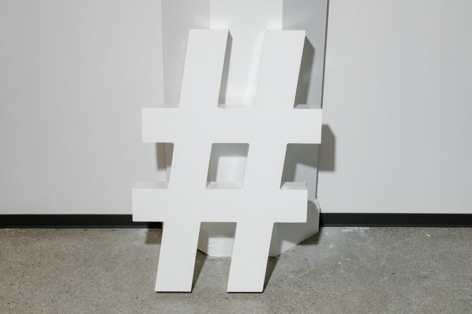 A hashtag in the design department at the Twitter's San Francisco office, May 8, 2019.