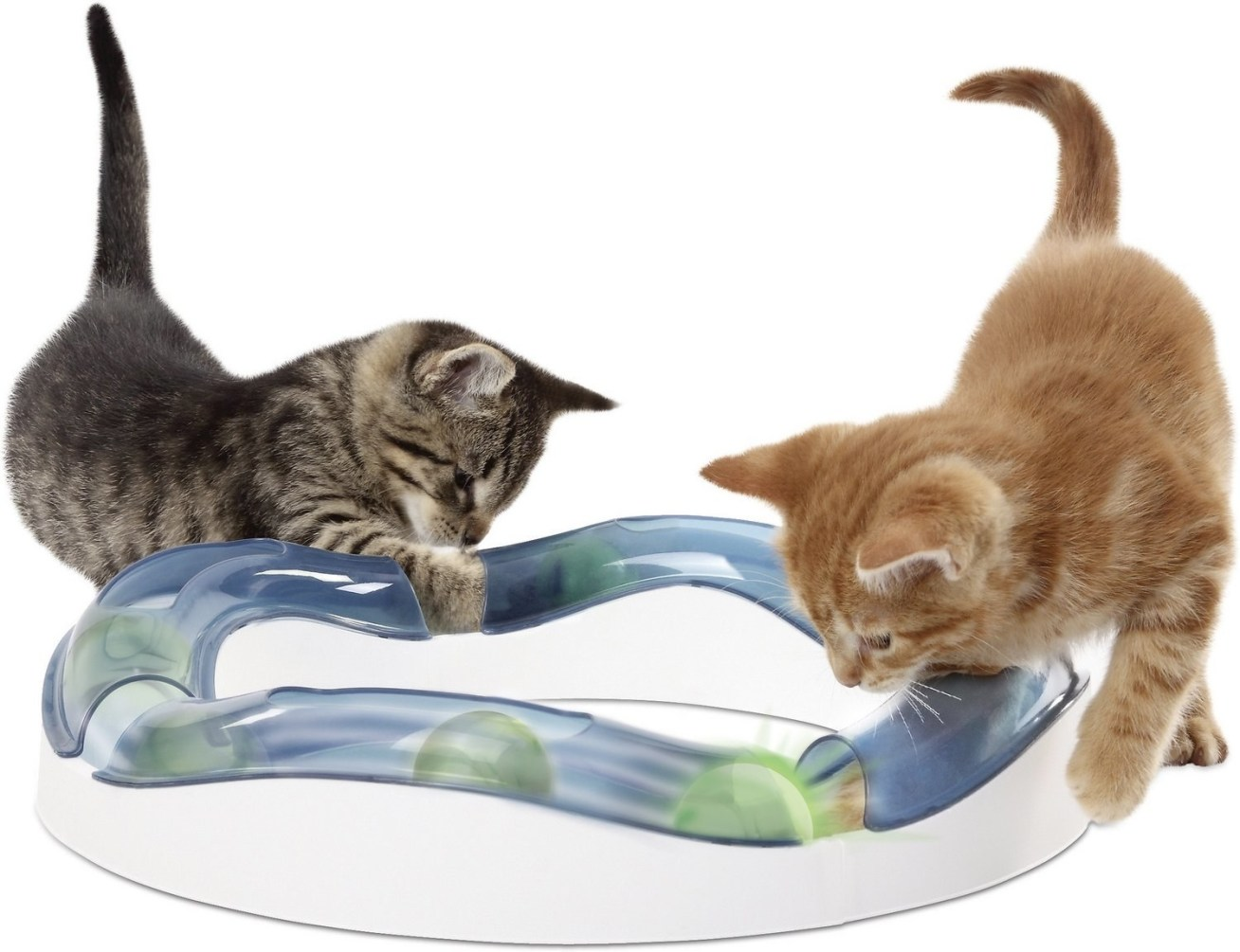 """If you're a cat parent, you know what a big deal that really is. Promising review: """"My two young cats seem to always quickly lose interest in the toys I buy them. However they can't seem to resist this toy whenever they walk by! It's so gratifying to hear them playing with it throughout the day. I will be buying additional pieces to change the shape of the track for more fun. This is top of my list of favorite purchases so far."""" —Walmart CustomerPrice: .38"""