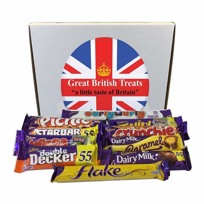 """Comes with one Curly Wurly, one Picnic, one Twirl, one Starbar, one Crunchie, one Wispa, one Dairy Milk Caramel, one Double Decker, one Dairy Milk, and one Flake.Promising review: """"Just received several days ahead of estimated delivery which was very nice. All the chocolates/candy are very freshly dated and were protected by the packaging. The box itself was a bit dented but everything inside was perfect. I am very happy with this purchase. Several years ago, I went to a local British store and bought about $40 worth of candy for a British vs. American 'taste-off' for the kids, (we would read a book and then try to eat meals/snacks like the characters for a new experience). This was so much less expensive and I saved myself the two hour round-trip drive. Can't wait to show the kids and remind them of that taste-off picnic!"""" —dpGet them from Amazon for $12.04."""