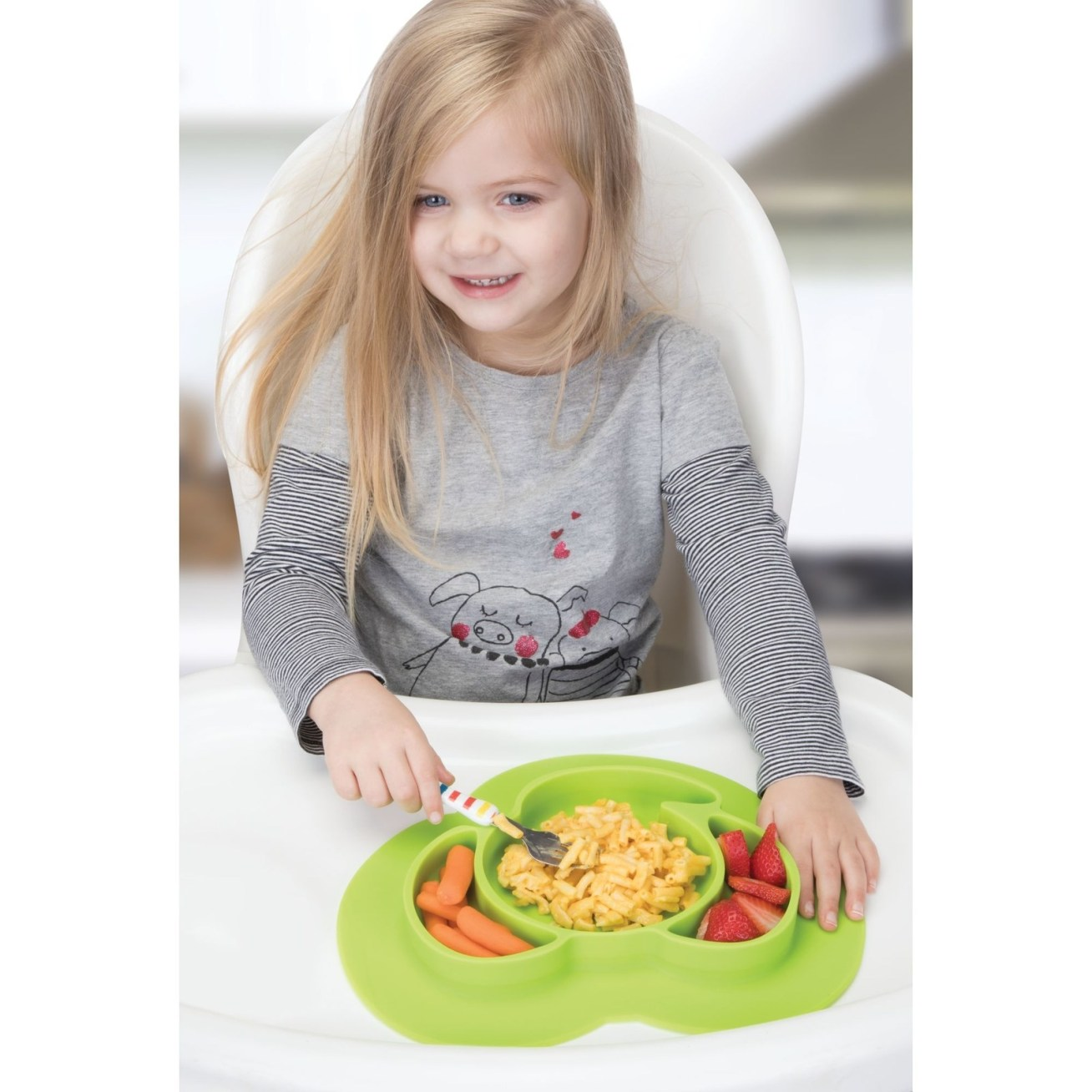 """It's shown here with an older kid who's using utensils, but it also works well for finger food like cheerios, strawberries, and small pieces of cheese. It's dishwasher safe of course! Promising review: """"This plate is so cute and very effective. My one year old grandson likes to dump the food off his plate and onto his highchair tray. He is so frustrated now because he can no longer pull those shenanigans. LOL! The suction is excellent on countertops and highchair trays. Some wood kitchen tables may be a little problematic. Highly recommend for the efficiency — and the look on your kids face when they can't toss their plate on the floor is priceless."""" —OneEyedKristyGet it from Walmart for .95."""