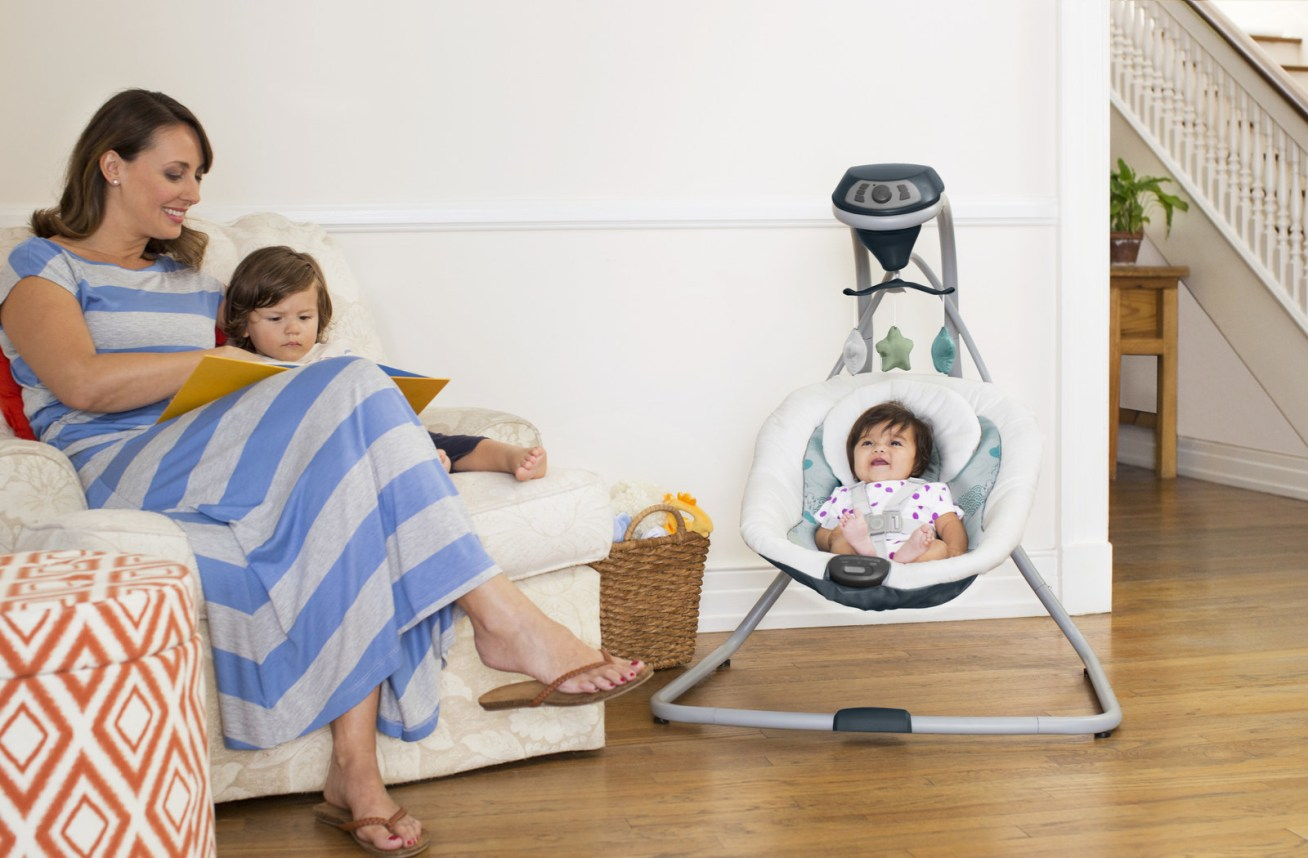 """It works with batteries or you can simply plug it in. The five-point harness makes sure they stay safe and secure. Promising review: """"I bought this swing for my new granddaughter, because she really wouldn't sleep well without being held. Now her parents are so overjoyed, because they can actually cook and clean while she takes a little nap."""" —NannaGet it from Walmart for  (two color combinations)."""