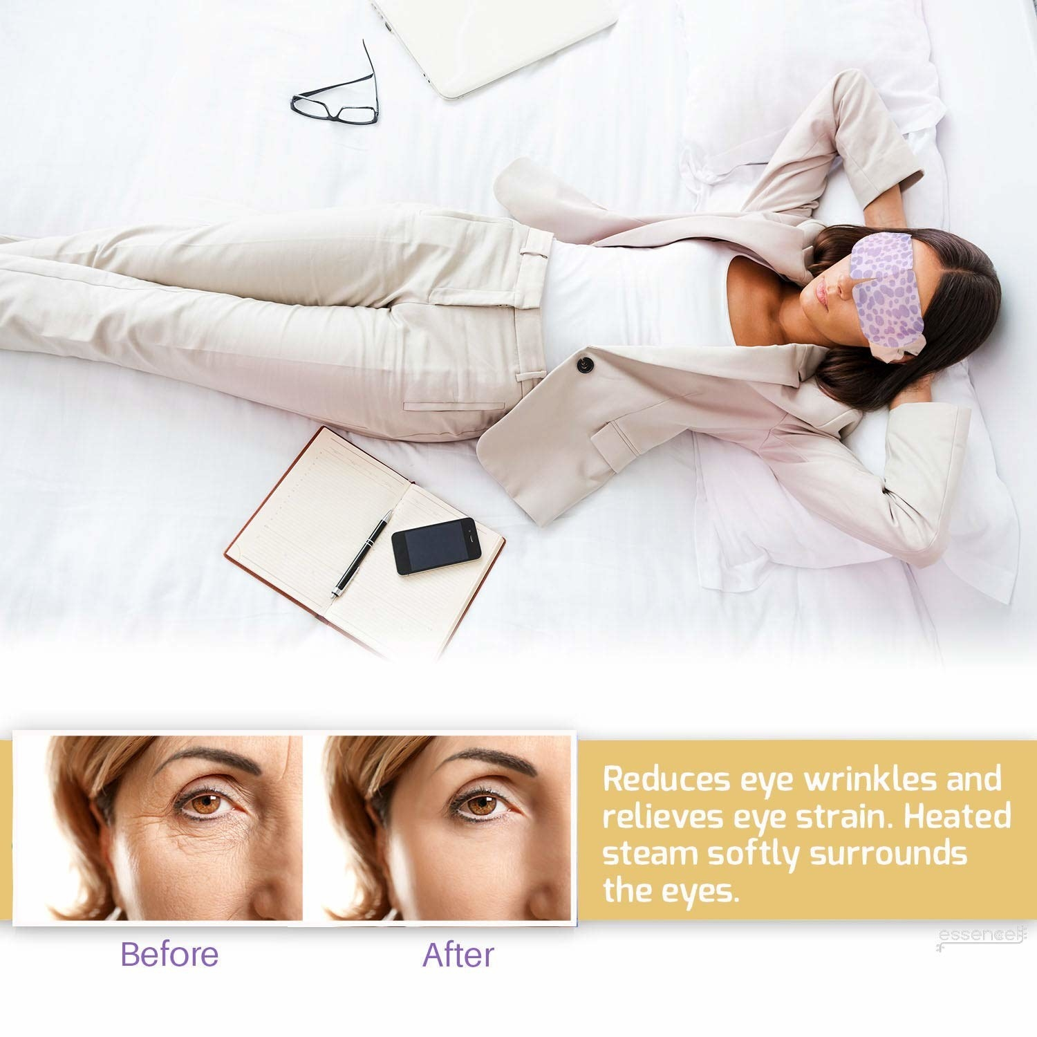 """They're also scented (you can pick from jasmine, lavender, rose, or unscented) to help you ~relax~. Promising review: """"I've used several brands of these warm eye masks. I like this one the best. It retains the warmth longer — usually 30 minutes compared to 15 -20 for the others. I use these at night. It can really reduce the stress of my eyes. It's very comfortable and warm. I use it before I go to bed. It's really helpful and helps me get to sleep."""" —Bo ZhuGet a pack of 10 from Amazon for $12.99+ (available in four scents)."""