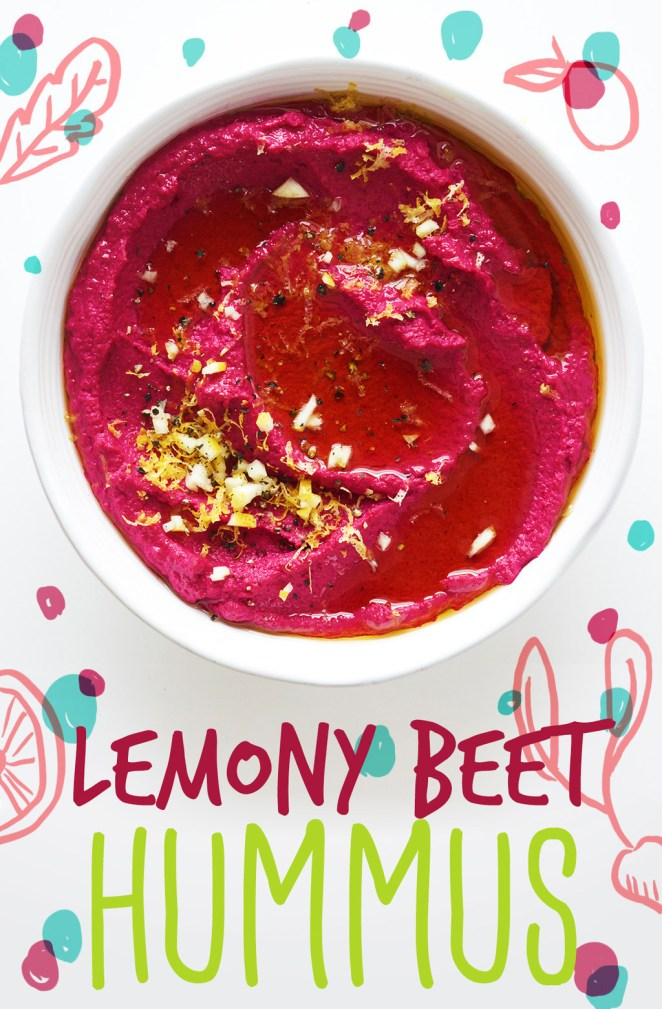 This comes together in just a few seconds in the food processor. (And fair warning? It's so good that you'll probably never go back to regular hummus again.)Recipe: Lemony Beet Hummus
