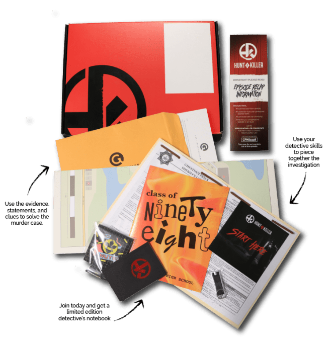 the true crime hunt a killer set with instructions and clues