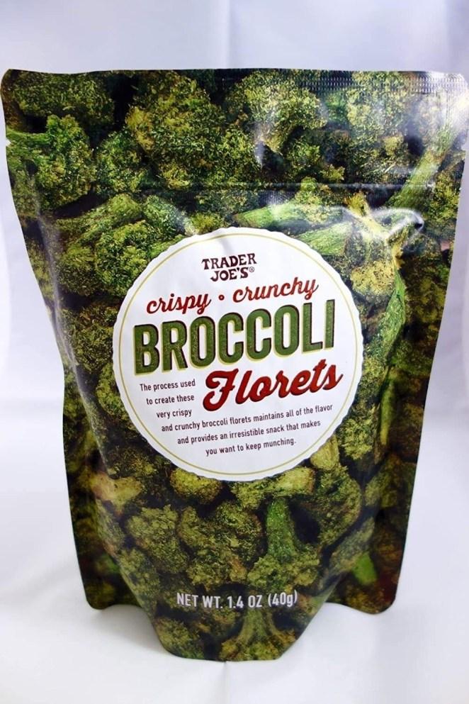 Picture of a bag of Trader Joe's crispy crunchy broccoli florets