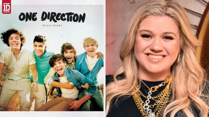 One Direction's debut album cover; Kelly Clarkson smiling at a celebrity event