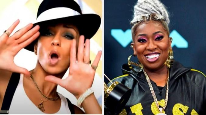 "Mýa wearing a hat in the ""My Love Is Like... Wo"" music video; Missy Elliott posing on the MTV red carpet"
