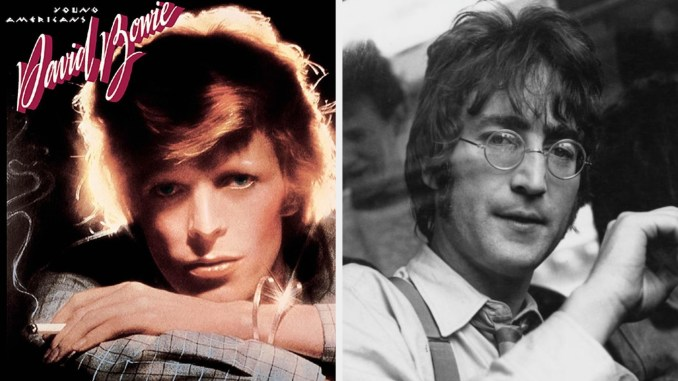 """David Bowie's album cover for """"Young Americans"""" and John Lennon posing on a bus while wearing glasses"""