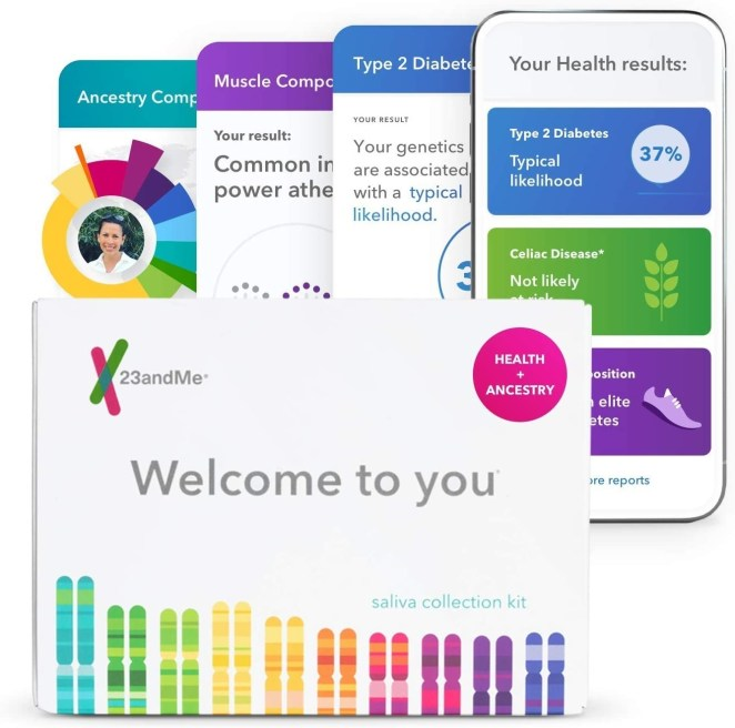 the 23andme packagine and screenshots of what the app looks like in use