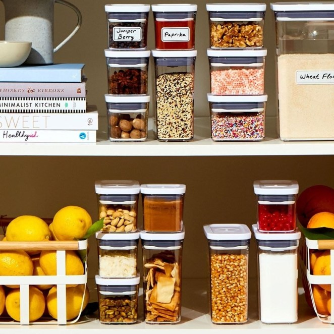 an array of the pop containers in a nicely organized pantry