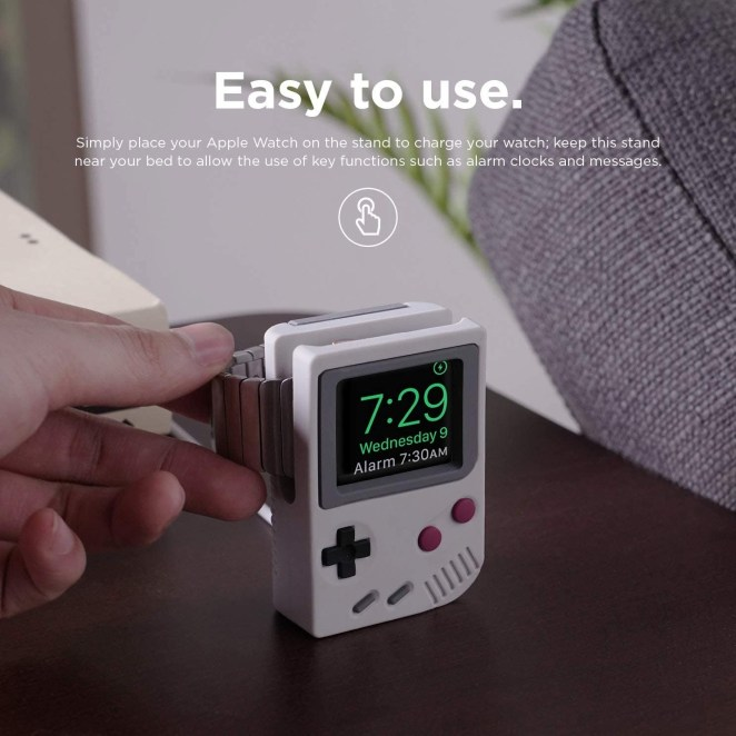 The Apple Watch stand designed to look like the old Game Boy.