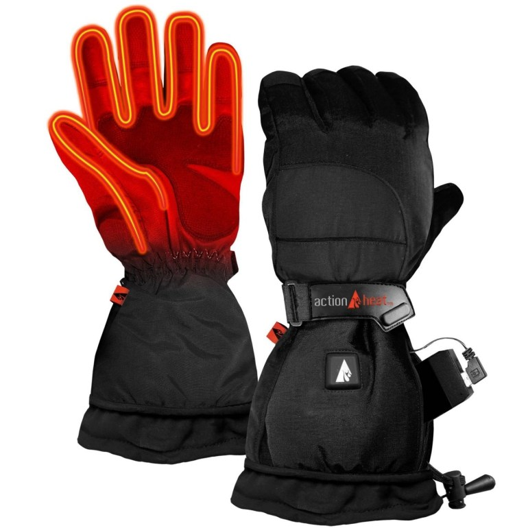 Black heated gloves with orange highlight to show where the heat is