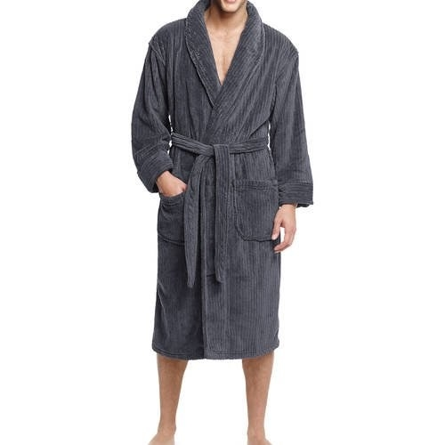 Model wears a the gray robe