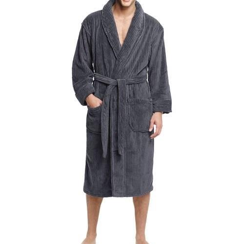 Model wears a the gray robe