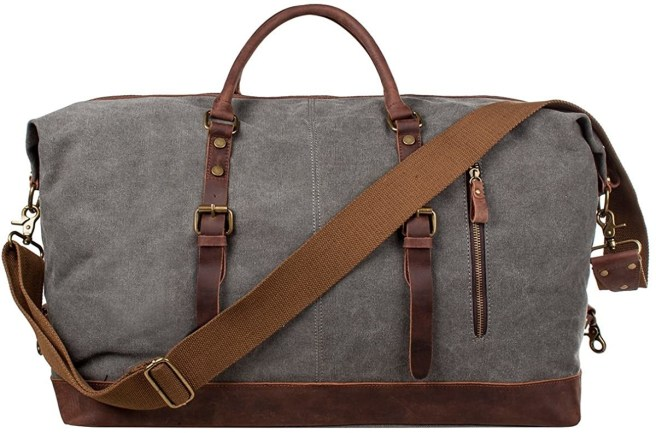 Gray duffel bag with brown leather and strap